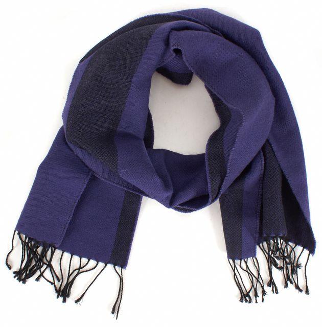 FENDI Purple Black Color-Block Fringe Trim Wool Scarf