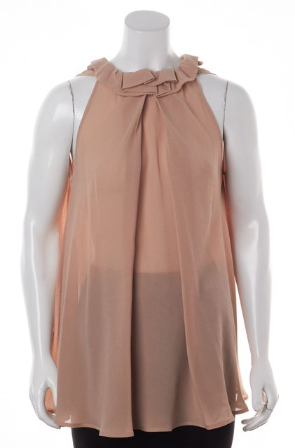 FENDI Beige Silk Relaxed Fit Ruffle Neck Blouse Top