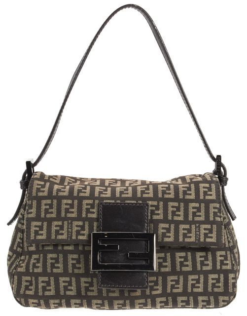 FENDI Brown Beige Monogram Canvas Leather Trim Small Shoulder Bag