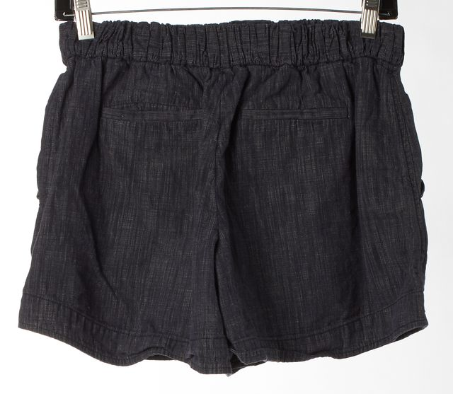 FENDI Blue Linen Elastic Waist High Rise Casual Shorts