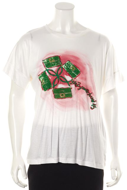 FENDI White Red Green Graphic Print Over Sized Basic Tee T-Shirt