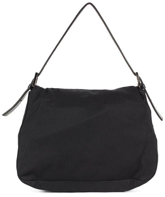 FENDI Black Nylon Leather Trim Flap Adjustable Strap Shoulder Bag