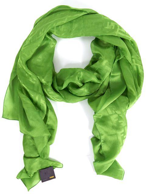 FENDI Lime Green Silk Zucca Printed Long Scarf