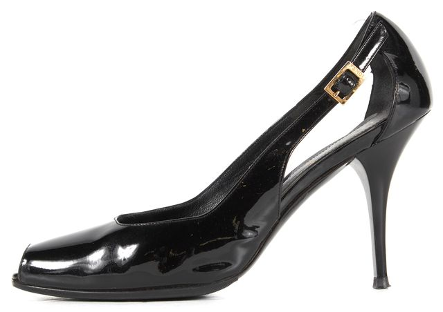 FENDI Black Patent Leather Peep Toe Pump Heels