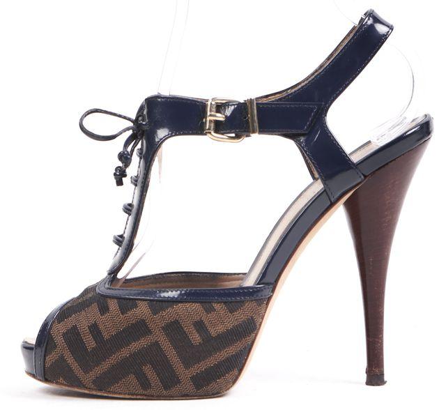 FENDI Navy Blue Brown Canvas Patent Leather Trim Lace-Up T-Strap Heels