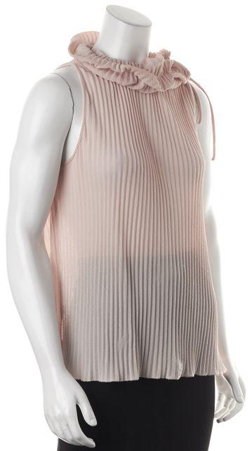 FENDI Pink Pleated Cotton Silk Neck Buttons Sleeveless Blouse Top