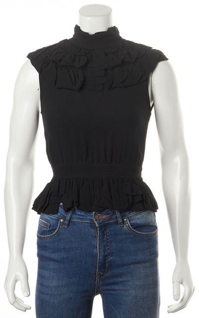 FENDI Black Silk High Neck Ruffled Sleeveless Blouse Top