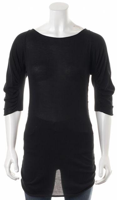 FENDI Black Ribbed Cotton Semi Sheer Gathered Knit Top
