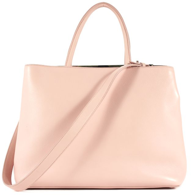 FENDI Pink Calfskin Leather Medium 2Jours Top Handle Shoulder Satchel Bag