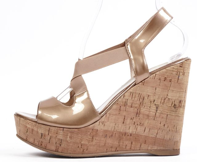 FENDI Beige Patent Leather Cork Wedges Sandals