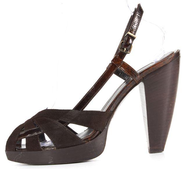 FENDI Brown Suede Slingback Heels Sandal