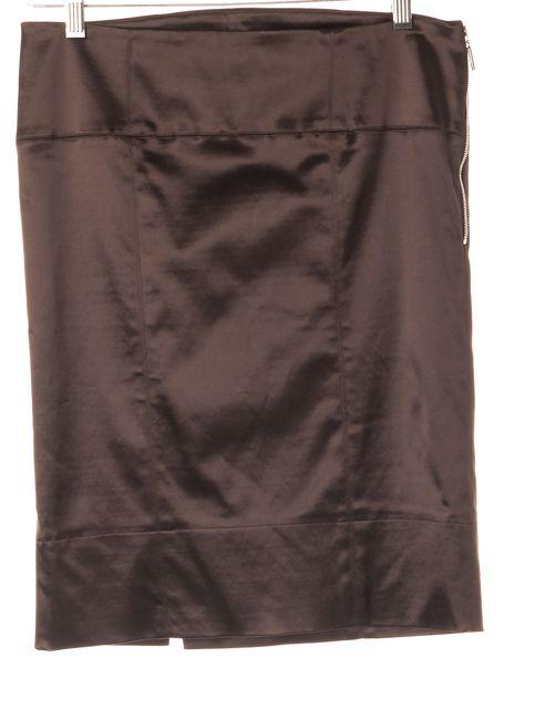 FENDI Brown Gonna Satin Knee-Length Straight Skirt