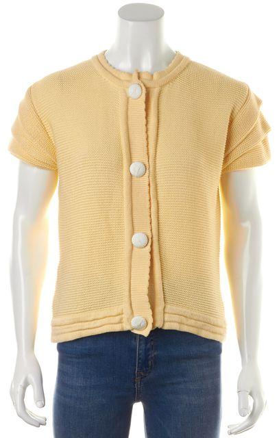 FENDI Ivory Crewneck Button Down Cotton Knit Short Sleeve Sweater