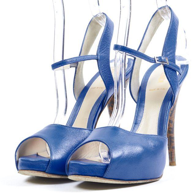 FENDI Royal Blue Leather Peep-Toe Stacked Heel Pumps