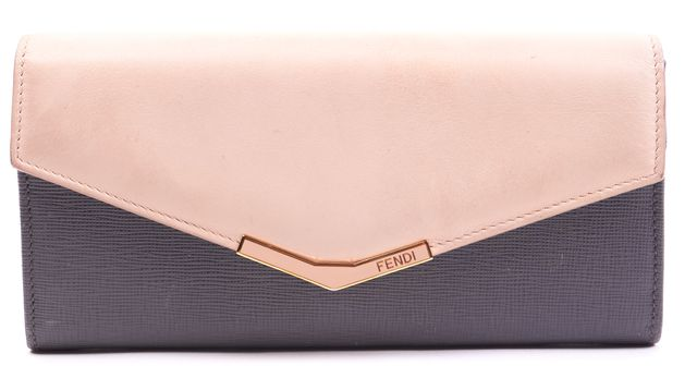 FENDI Gray Pink Leather Continental Wallet