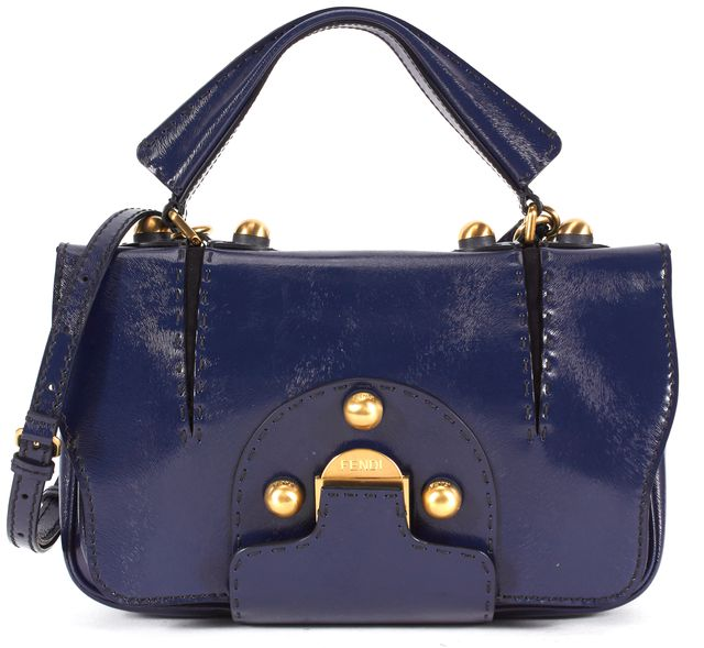 FENDI Blue Patent Leather Crossbody Satchel Bag