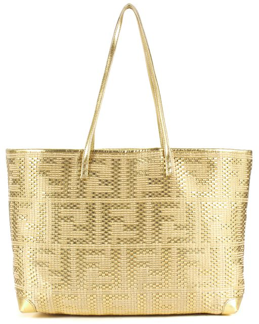 FENDI Gold Metallic Woven Leather FF Tote Bag