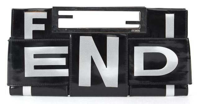 FENDI Black Gray Patent Leather Crossword Clutch