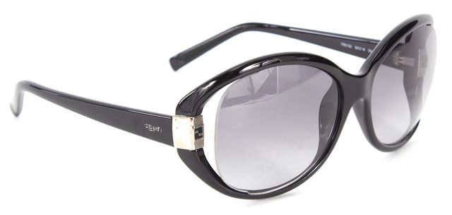 FENDI Black Acetate Frame Cold Insert Oval Sunglasses w/ Case