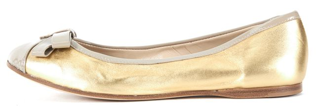 FENDI Metallic Gold Beige Leather Bow Embellished Ballet Flats