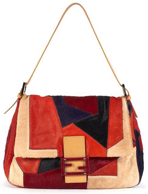 FENDI Orange Red Beige Black Blue Patchwork Calf Hair Shoulder Bag