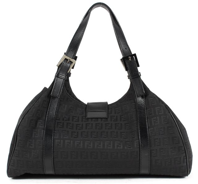 FENDI Black Zucchino Canvas Top Handle Shoulder Bag