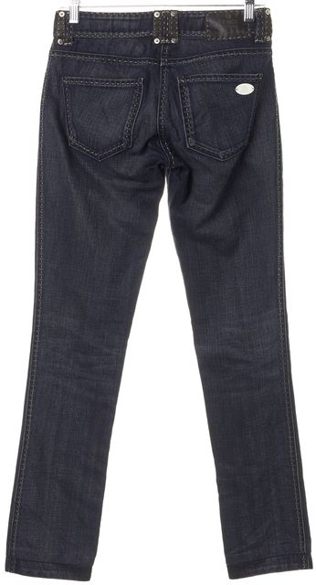 FENDI Blue Low Rise Stitch Trim Straight Leg Jeans