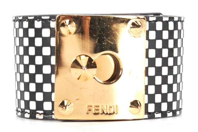 FENDI Black White Checkered Leather Gold Lock Cuff Bracelet w/ Box