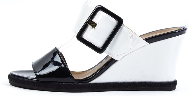 FENDI Black White Patent Leather Slip-On Sandal Wedges