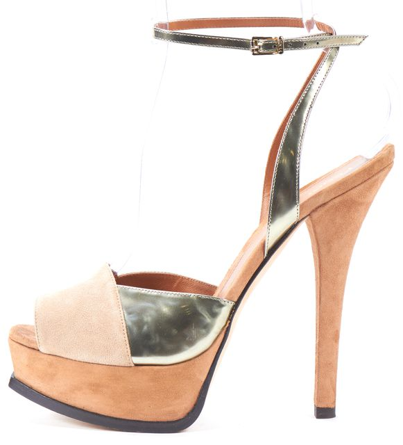 FENDI Brown Beige Gold Suede Sandal Platform Heels