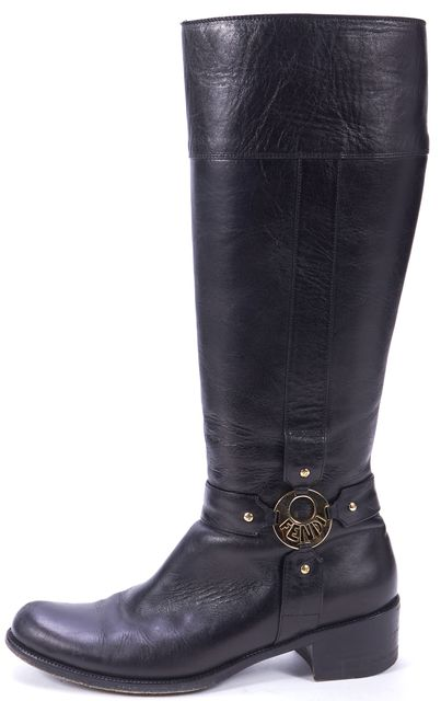 FENDI Black Genuine Leather Gold Logo Mid-Calf Moto Boots