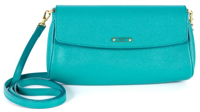 FENDI Teal Blue Leather Small Crossbody