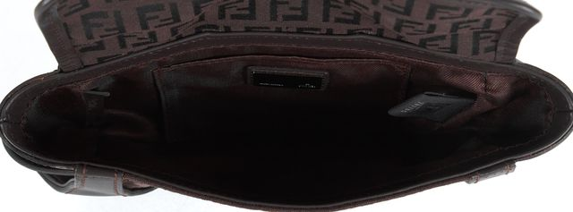 FENDI Brown Zucca Monogram Canvas Leather Trim Small Clutch Bag