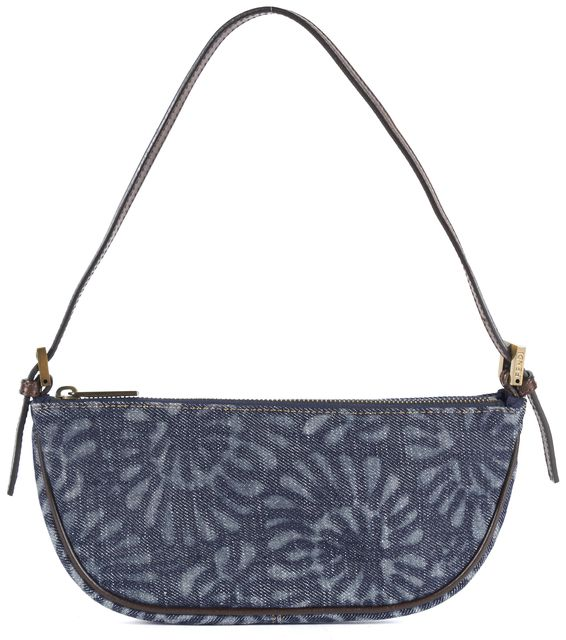 FENDI Blue Brown Floral Embossed Denim Leather Trim Shoulder Bag