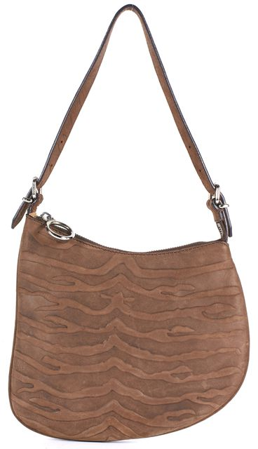 FENDI Brown Tiger Striped Embossed Leather Asymmetrical Shoulder Bag