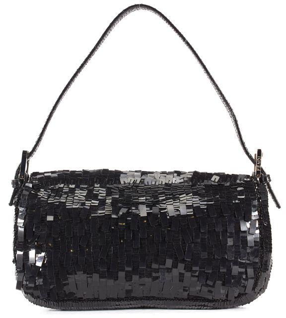 FENDI Black Sequin Snakeskin Trim Strap Baguette Shoulder Bag
