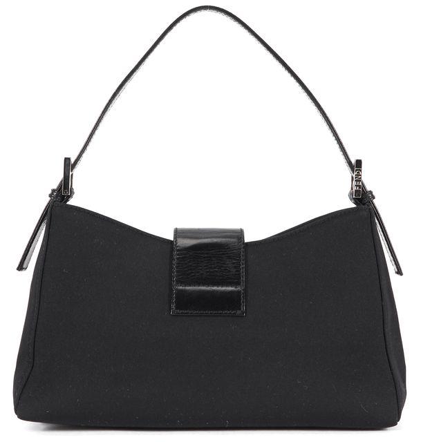 FENDI Black Satin Leather Trim Silver Hardware Baguette Shoulder Bag