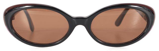 FENDI Black Bronze Acetate Small Oval Sunglasses