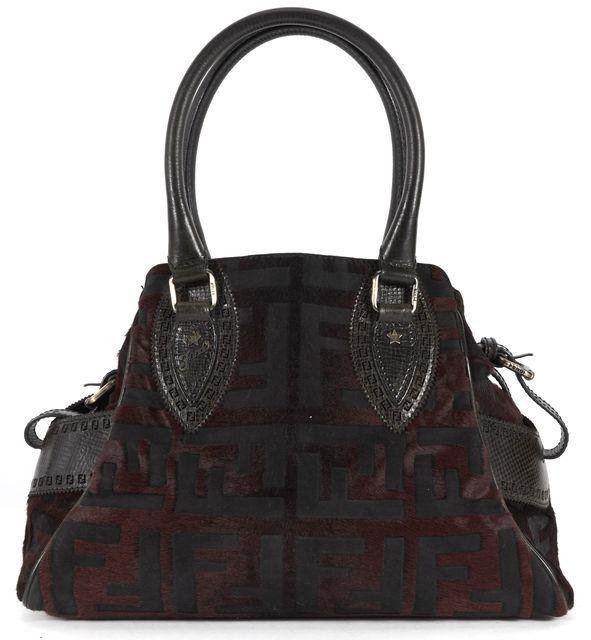 FENDI Brown Zucca Monogram Burnout Calf Hair Top Handle Shoulder Bag