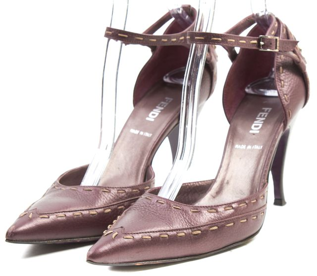 FENDI Plum Purple Leather Contrast Stitch Pointed Toe Pump Heels