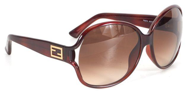 FENDI Brown Acetate Gradient Lens Square Sunglasses w/ Case
