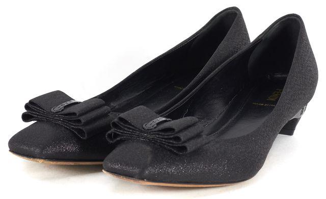 FENDI Black Glitter Bow Kitten Heels