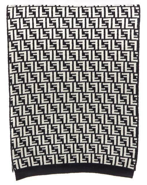 FENDI Black White Zucca Logo Intarsia Knit Wool Winter Scarf