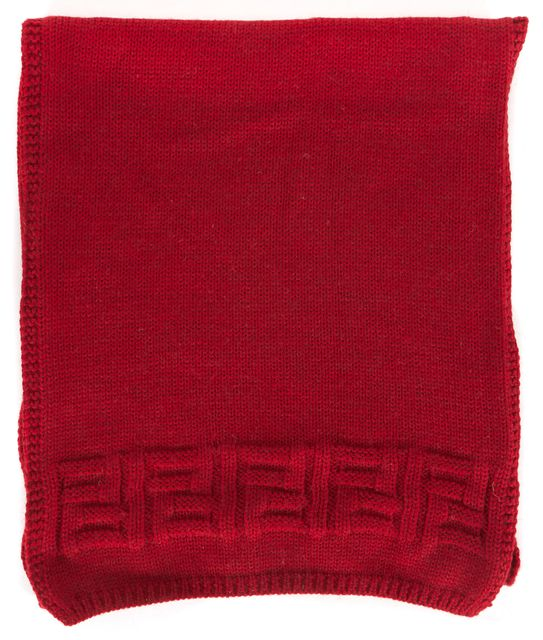 FENDI Red Wool Zucca Embroidered Knit Winter Scarf