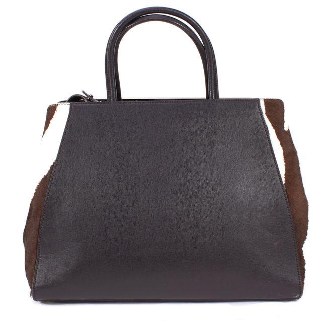 FENDI Black Brown White Leather Calf-Hair 2Jours Elite Satchel Tote