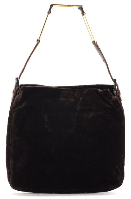 FENDI Brown Velvet Leather Trim Chain Strap Shoulder Bag
