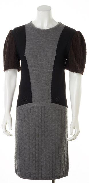 FENDI Gray Brown Black Wool Short Sleeve Knit Shift Dress