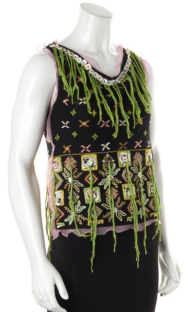 FENDI Black Multi-Color Silk Abstract Floral Fringe Embellished Knit Top