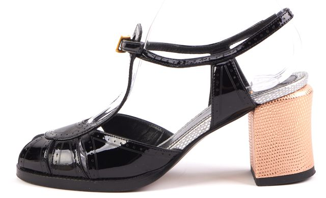 FENDI Black Silver Patent Leather Slingback Pump Sandal Heels