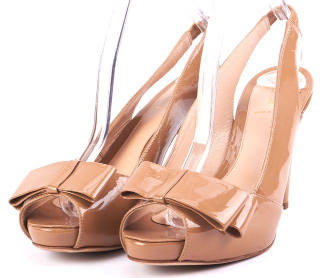 FENDI Beige Patent Leather Slingback Sandal Heels Size 8.5 IT 38.5